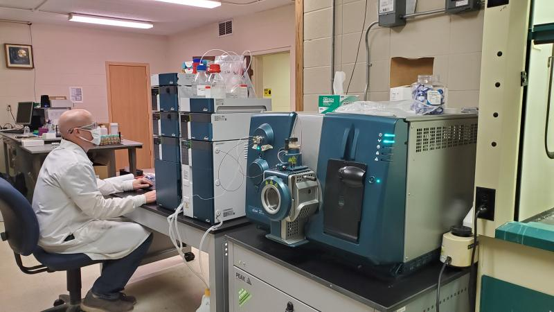 Chemistry Technical Director, Brian, uses the HPLC-MS/MS for mycotoxin analysis at Dairyland Labs.